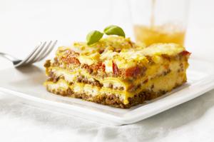 Lasagne med grøntsagsdrik