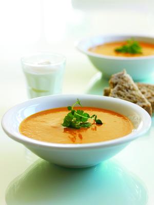 Fersken og appelsin suppe